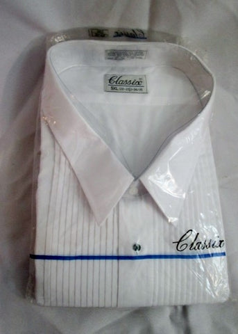 NEW Mens CLASSIX Pleated Tuxedo Shirt WHITE 5XL (22-22.5) 34/35 Formal Wedding