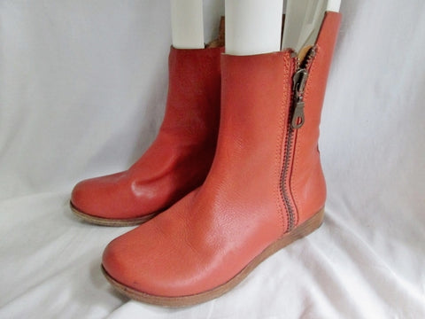 Womens KORK-EASE ANKLE BOOT Zip Leather Shoe Bootie RUST ORANGE 7 / 38