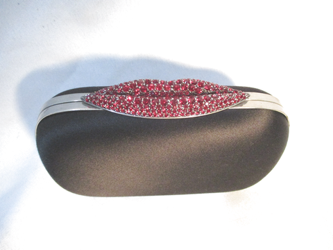 NEW ALEXANDER MCQUEEN SATIN CLUTCH LIPS KISS Box Clutch Bag BLACK RED