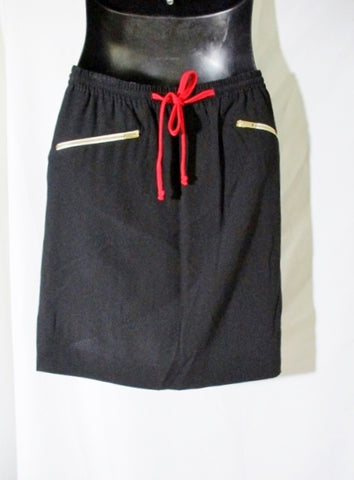 New CELINE Zip Pockets Mini Short SKIRT 36 4 BLACK Orange Womens