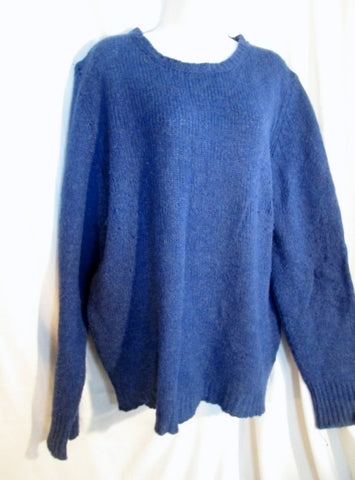 Womens DAPHNE 1907 ITALY Cotton Knit Sweater Pullover L COBALT BLUE Jumper