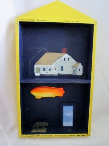 SIGNED 2002 FAMOUS AMERICAN RESIDENCE Painted Wood Primitive Shadow Box Architecture