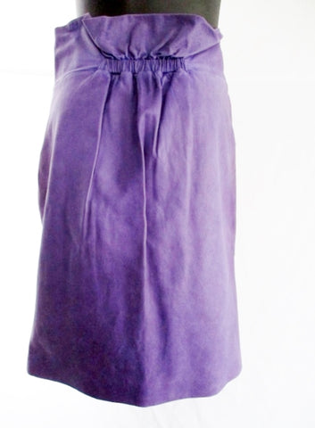 JIL SANDER Leather Ruched Pencil Skirt 36 / 4 PURPLE VIOLET WOMENS Spring Fashion