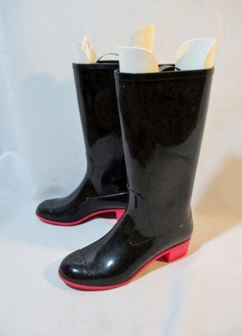 CHANEL Wellies Rubber Rain Boot 36 6 BLACK PINK Wellington Womens