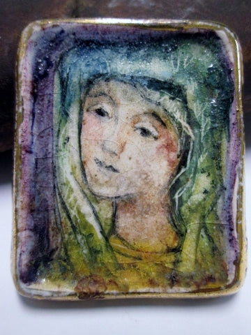 Vtg Antique RELIGIOUS WOMAN FACE PORTRAIT Ceramic Pottery Pin Brooch Art Pendant