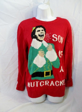 Womens ELF SON OF NUTCRACKER Christmas Movie Sweater Red S Ugly Humor