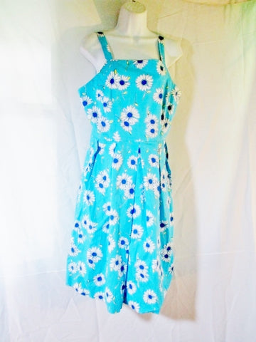 Womens LILLY PULITZER Cotton Midi Dress FLORAL 12 BLUE AQUA Daisy Sleeveless