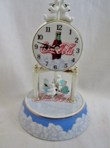 COCA COLA ANNIVERSARY POLAR BEAR CLOCK Mantel Shelf No Glass Dome WORKS