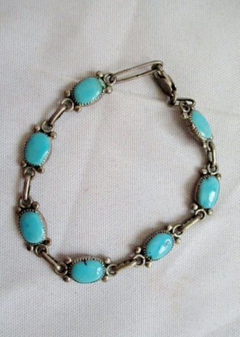 Signed RLD 925 STERLING SILVER LEAF Turquoise Chainlink Bracelet Bangle Boho Ethnic