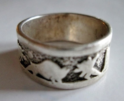 Signed 925 STERLING Silver Ring ANIMAL DINOSAUR Sz 6.5 Band Statement Jewelry 5.2g Wedding