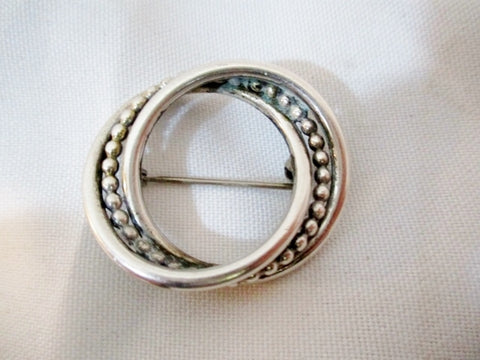 Signed STERLING SILVER Round Beaded BROOCH PIN 6g GYRE Statement
