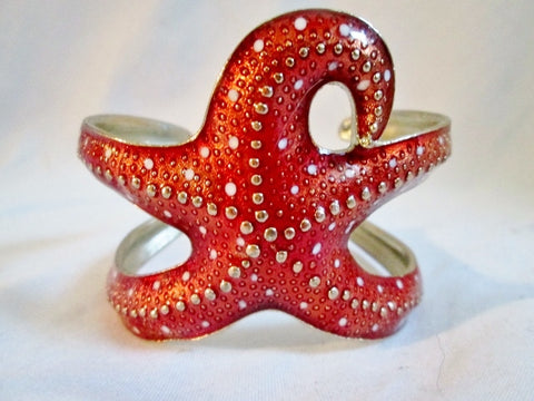 Textured STARFISH SEA STAR MERMAID NAUTICAL Bracelet Cuff Bangle RED Boho Jewelry