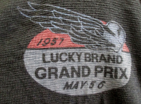 MENS Original California LUCKY BRAND GRAND PRIX Thermal Shirt GRAY XXL Crewneck