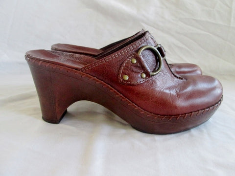 Womens NURTURE Leather Clog Shoe Slip-On Loafer Comfort 8.5 Mule BROWN Horsebit