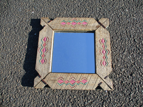 Handmade MIAMI SOUTHWESTERN Rustic Wood MIRROR Wall Art Looking Glass Carved