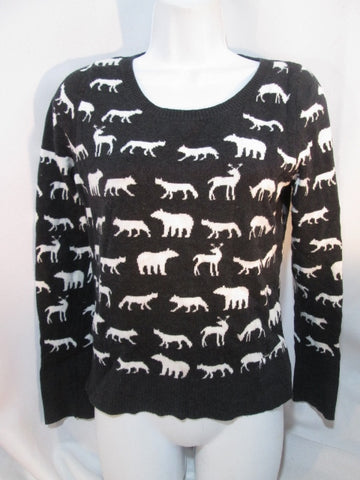 Teen Youth Girls GARAGE BRAND ANIMAL SILHOUETTE Jumper Sweater Jacket M Black White