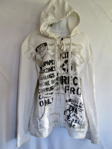 Womens DKNY DONNA KARAN NEW YORK NOTICE NYC Hoodie SWEATSHIRT L WHITE Jacket
