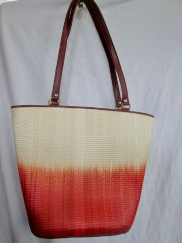 LE SAC Handmade Woven Tote Satchel Carryall Purse OMBRE BEIGE RED TAN