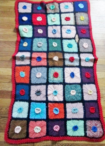 Handmade Crochet GRANNY SQUARE Blanket Throw Afghan Cover Knit Yarn COLORFUL 29X52