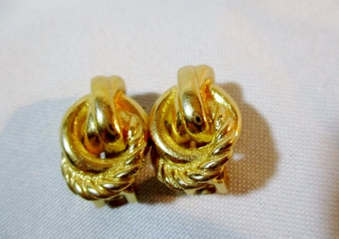 Vintage BURBERRYS CLIP ON EARRING Set Jewelry GOLD Statement