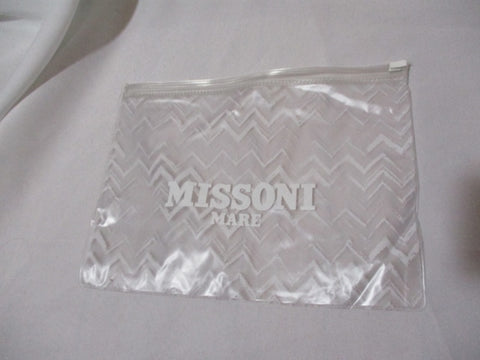 MISSONI MARE Clear ZigZag Zip Bag Purse Pouch Cosmetics Case Organizer