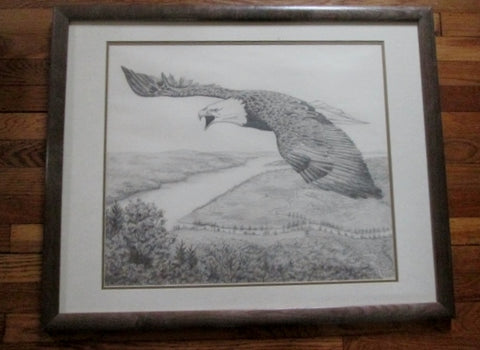 Vintage SIGNED JEROLMAN BALD EAGLE BIRD OF PREY DRAWING Frame Picture ART Pencil