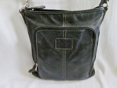 FOSSIL leather messenger satchel shoulder hobo saddle bag swingpack BLACK pouch