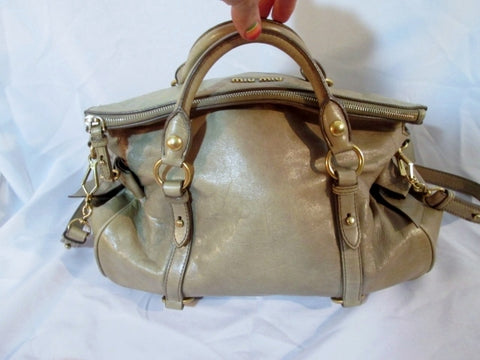MIU MIU Leather Shoulder Bag Satchel Crossbody ECRU TAN BEIGE Purse