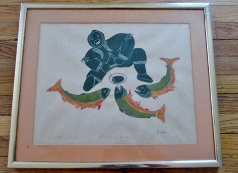 Vintage PETER ALIKNAK ICE FISHING ESKIMO WESTERN ARCTIC Art Print 1972 FRAMED