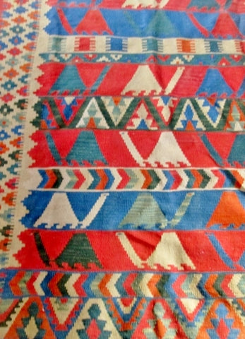 Vintage 4.5 X 6' Handmade Fringe TURTLE KILIM Rug Carpet Mat Wool Area RED BLUE Turkish Ethnic