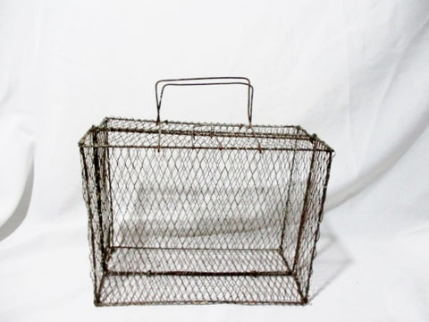 "13"" Vintage METAL MESH CHICKEN WIRE SUITCASE Box Display Primitive Rustic"