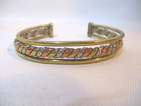 Woven Boho SILVER COPPER BRASS Arts Crafts Bracelet Cuff Bangle Statement Band Wrist
