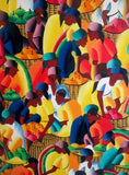 Vtg HAITI MARKETPLACE Painting Wall Hanging Colorful Ethnic Caribbean Antilles Folk Art