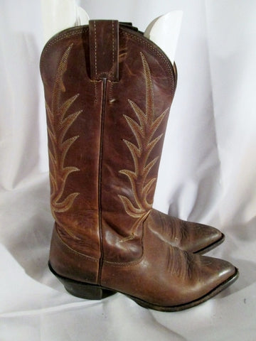 Womens NOCONA BOOTS USA Western Cowboy Leather 7.5 BROWN Rider ROCKER Rodeo