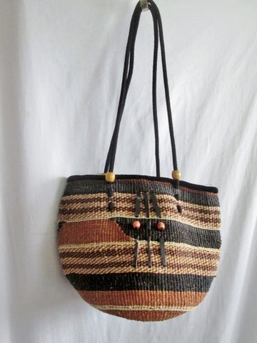 Woven STRING STRAW Basket Sling Satchel Shoulder Market Bucket Bag BROWN BLACK Ethnic