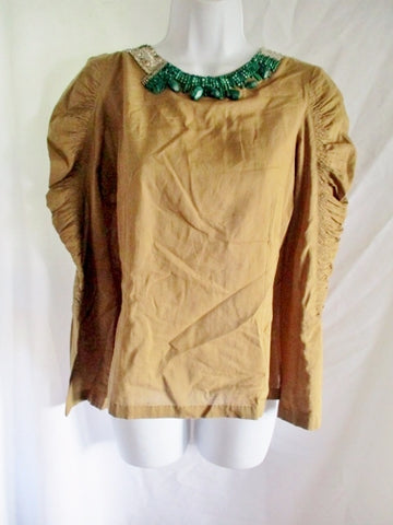 NEW DRIES VAN NOTEN Malachite Bead Blouse Top Shirt 38 / 6 GREEN Safari