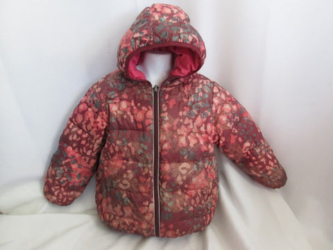Girls HANNA ANDERSSON FULL ZIP JACKET DOWN Coat Puffer 110 5/6 PINK RED BROWN