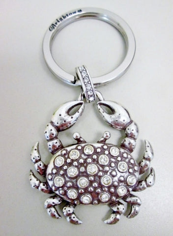 BRIGHTON CRAB Rhinestone Jewel Encrusted Keychain Keyring Mermaid Nautical SILVER