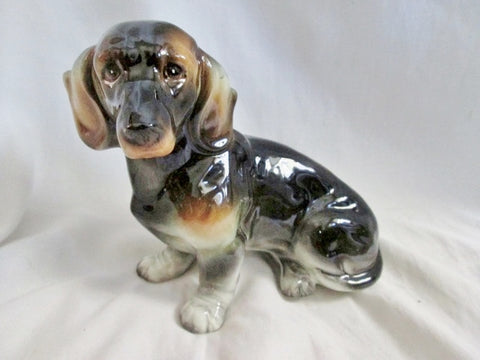 Vtg Antique DOG DACHSHUND Hound COIN BANK Ceramic Figurine Porcelain BLACK