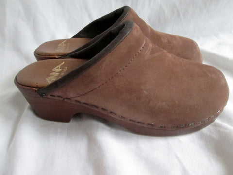 ANNA USA Suede Leather Clogs Shoes Slip-On Mules BROWN 5 Womens Girls