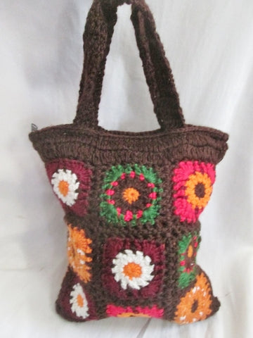 FAR NINE Crochet GRANNY SQUARE Blanket COLORFUL Hippie Tote Clutch BROWN