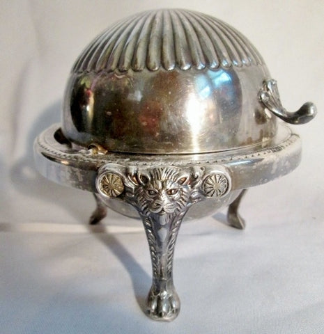 F.B. ROGERS SILVER COMPANY Silverplate Roll Top Footed LION Candy BOWL Dish Trinket