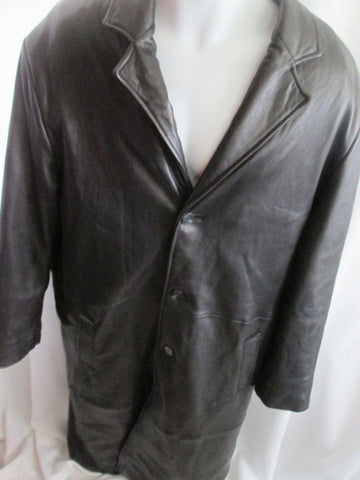 MENS TOP GUN ITALIAN LAMB Leather jacket long coat maxi BLACK XL lined parka trench