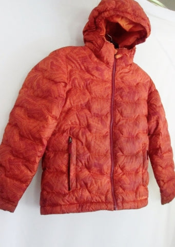 Boys Kids Girls L.L. BEAN DOWN Puffer JACKET Coat ORANGE S 8 Hood Winter Ski