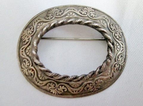 ORIGINAL BY ROBERT Silver FANCY BRAIDED Brooch Pin Buckle Frame Jewelry