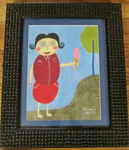 Signed Original HELENE LACELLE ONE MORE RASPBERRY ICE CREAM CONE Painting