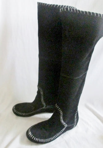 Womens BAKERS KIZMAN Suede Leather Tall Over the Knee High BOOTS BLACK 7.5 Stitch