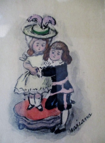 Signed MARIANA MARIAN FOSTER CURTISS Painting WATERCOLOR Art Children Vintage