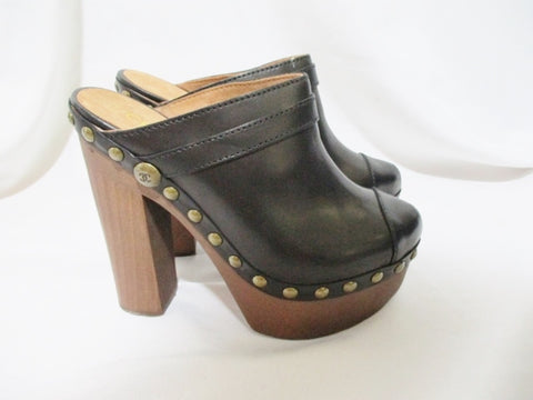 NEW CHANEL Leather High Heel Stud CLOG Shoe 36.5 6 BLACK Womens