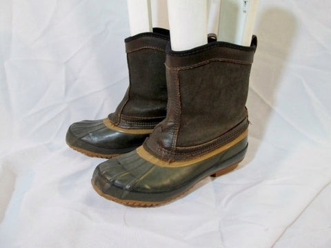 Mens G.H. BASS THERMOLITE Waterproof Rain Duck Boot 4 6 BROWN GREEN